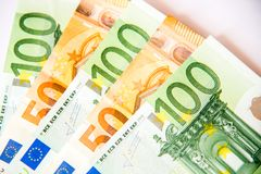 Euro currency. One hundred and fifty euro currency banknotes, close up macro Stock Photo