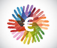 Euro currency over diversity hands circle Royalty Free Stock Photography