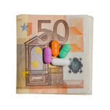 Euro Currency and Pills Stock Image