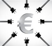 Euro currency and power cables. illustration Stock Photos