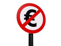 Euro currency prohibited sign Stock Photography
