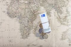 Euro currency with russian coins on a map from top Royalty Free Stock Image