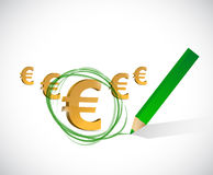 Euro currency selection. big profits concept. Illustration design over white Stock Photos