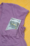 Euro Currency in a Shirt Pocket Royalty Free Stock Photo