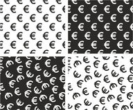 Euro Currency Sign Aligned & Random Seamless Pattern Set Stock Images