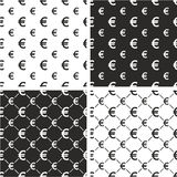 Euro Currency Sign Big & Small Seamless Pattern Set Stock Images