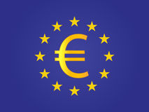 Euro Currency Sign on the center of the European Union Flag Royalty Free Stock Images