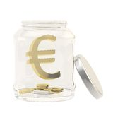 Euro currency sign in a glass jar Stock Photo