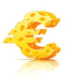 Euro currency sign made of yellow porous cheese. With holes -  illustration Royalty Free Stock Photo