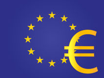 Euro Currency Sign over the European Union Flag Stock Images