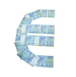 Euro currency sign symbol made of banknotes. Isolated on white background Royalty Free Stock Photography