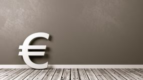 Euro Currency Sign on Wooden Floor Against Wall. White Euro Currency Symbol Shape on Wooden Floor Against Grey Wall with Copy Space 3D Illustration Stock Images
