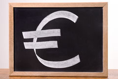 Euro currency signs on the blackboard Royalty Free Stock Photos