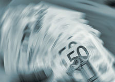 Euro currency in a spin Stock Images