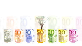 Euro currency spinning and EUR tree growing, financial concept, stock footage stock illustration