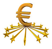 Euro Currency Support. Financial business concept as stars from the European union partnership reaching out to lift up the three dimensional money symbol as a Royalty Free Stock Images