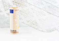Euro currency on swirl of white background Stock Photo