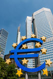 Euro currency symbol € - statue in Frankfurt am Main Germany royalty free stock photos