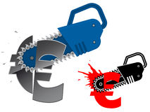 Euro currency symbol destroyed with chainsaw Royalty Free Stock Photos