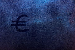 Euro currency symbol. Draw on fog window glass. Eurozone money sign on frozen glass texture Royalty Free Stock Photo