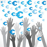 Euro currency symbol. Euro currency falling and try to catch background Stock Images