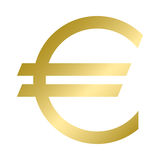 Euro currency symbol in gold color. Vector. Logo. Royalty Free Stock Images