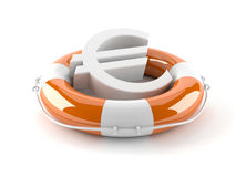 Euro currency symbol with life buoy. On white background Stock Images