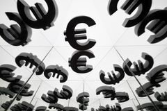 Euro Currency Symbol With Many Mirroring Images of Itself stock image