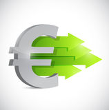 Euro currency symbol and positive arrows Stock Photo
