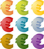 Euro currency symbol set Stock Images