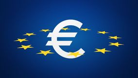 Euro currency symbol with stars stock footage