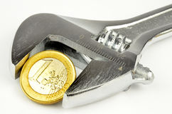 Euro currency under pressure Royalty Free Stock Images