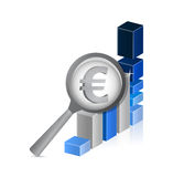 Euro currency under review. successful graph Stock Photo