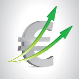 Euro currency and up arrows. illustration design Royalty Free Stock Photo