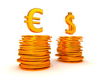 Euro Currency and US dollar equation Stock Photo