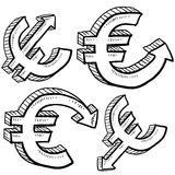 Euro currency value sketch Royalty Free Stock Photos