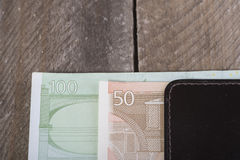 Euro currency in the wallet. Photo of euro currency in the wallet Royalty Free Stock Photos
