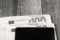 Euro currency in the wallet. Photo of euro currency in the wallet Royalty Free Stock Images