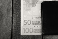 Euro currency in the wallet. Photo of euro currency in the wallet Royalty Free Stock Photo