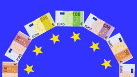 Euro currency whirling in carousel shape stock video