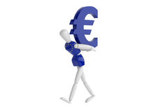 Euro currency white man Royalty Free Stock Photos