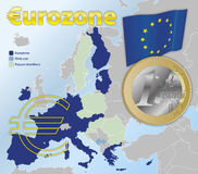Euro currency zone map Royalty Free Stock Photography