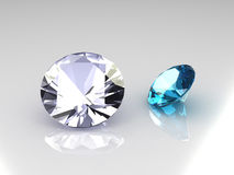 Euro cut diamond and topaz gems. 3D vector illustration