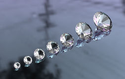 Euro cut round diamonds on glossy surface. 3D Royalty Free Stock Photography