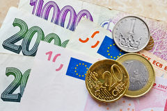 Euro and Czech crown money Royalty Free Stock Photo