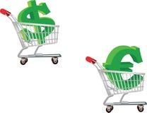 Euro dépense du dollar d'achats Images stock
