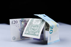 Euro, dólares americanos e libras britânicas das cédulas Foto de Stock