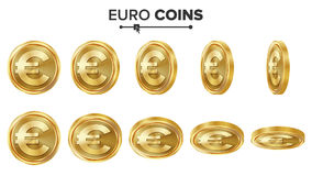 Euro 3D Gold Coins Vector Set. Realistic Illustration. Flip Different Angles. Money Front Side. Investment Concept Royalty Free Stock Images