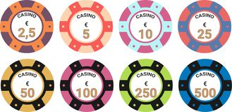 Euro d'illustration de vecteur d'ensemble de puces de casino illustration libre de droits