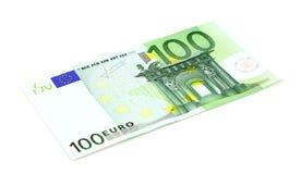 euro 100 d'isolement sur le blanc Image stock